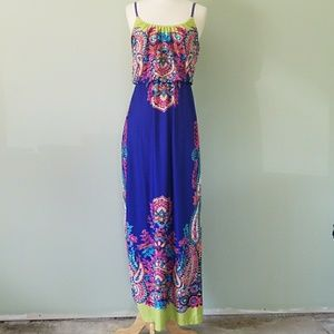 Maurices blue maxi floral dress xs